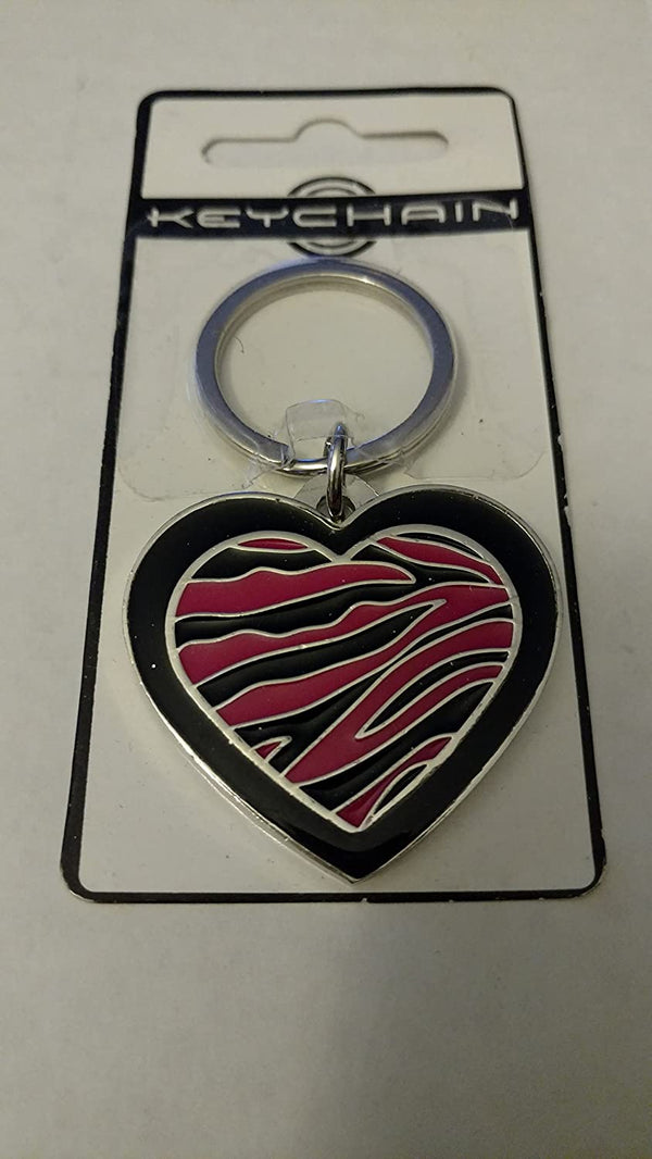 Hillman Group Heart with Zebra Print Key Chain
