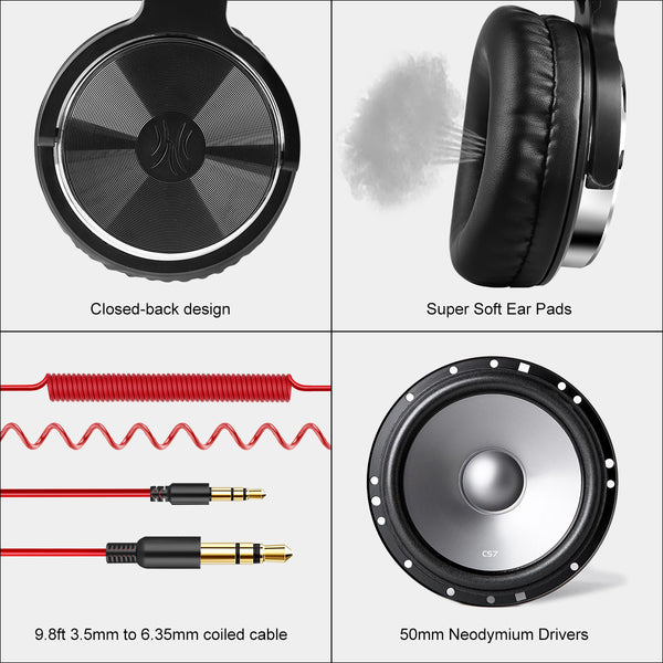 OneOdio Pro 10 Adapter-Free Closed Back Over-Ear DJ Stereo Monitor Headphones, Black