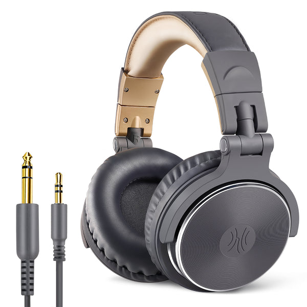 OneOdio Adapter-Free Closed Back Over-Ear DJ Stereo Monitor Headphones, Professional Studio Monitor & Mixing, Telescopic Arms with Scale, Newest 50mm Neodymium Drivers - Pro 10 Grey