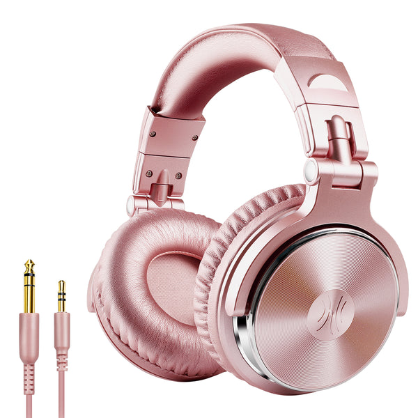 OneOdio Adapter-Free Closed Back Over-Ear DJ Stereo Monitor Headphones, Professional Studio Monitor & Mixing, Telescopic Arms with Scale, Newest 50mm Neodymium Drivers - Pro 10 Pink