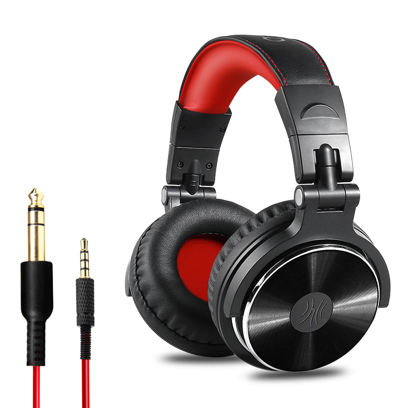 OneOdio Adapter-Free Closed Back Over-Ear DJ Stereo Monitor Headphones, Professional Studio Monitor & Mixing, Telescopic Arms with Scale, Newest 50mm Neodymium Drivers - Pro 10 Red