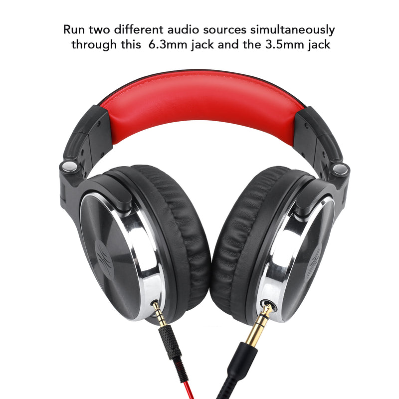 OneOdio Pro 10 Adapter-Free Closed Back Over-Ear DJ Stereo Monitor Headphones, Red