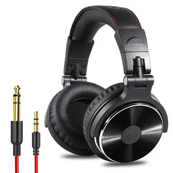 OneOdio Adapter-Free Closed Back Over-Ear DJ Stereo Monitor Headphones, Professional Studio Monitor & Mixing, Telescopic Arms with Scale, Newest 50mm Neodymium Drivers - Pro 10 Black