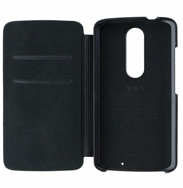 Tumi Premium Leather Wallet Folio Case Cover for Motorola Droid Turbo2 - Black