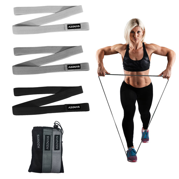 Adduns Long Resistance Bands for Working Out, Pull Up Bands, Fabric, Black, Set of 3