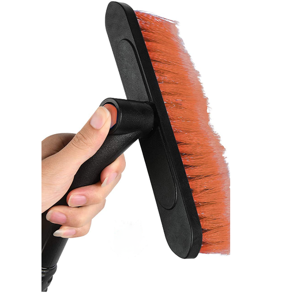 Adduns 2-n-1 Snow Brush and Ice Scraper Extendable, Scratch Free - Orange