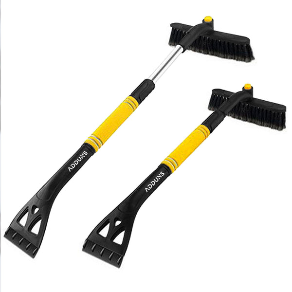 Adduns 2-n-1 Snow Brush and Ice Scraper Extendable, Scratch Free - Yellow