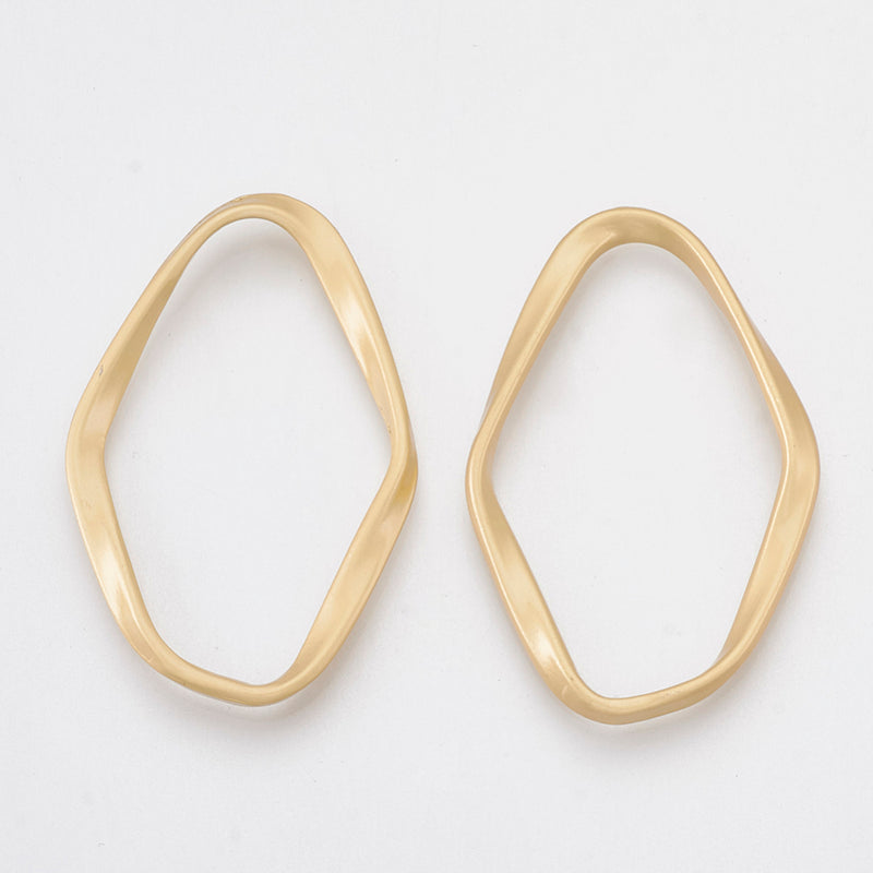 Linking Ring Irregular Smooth Gold 2pce