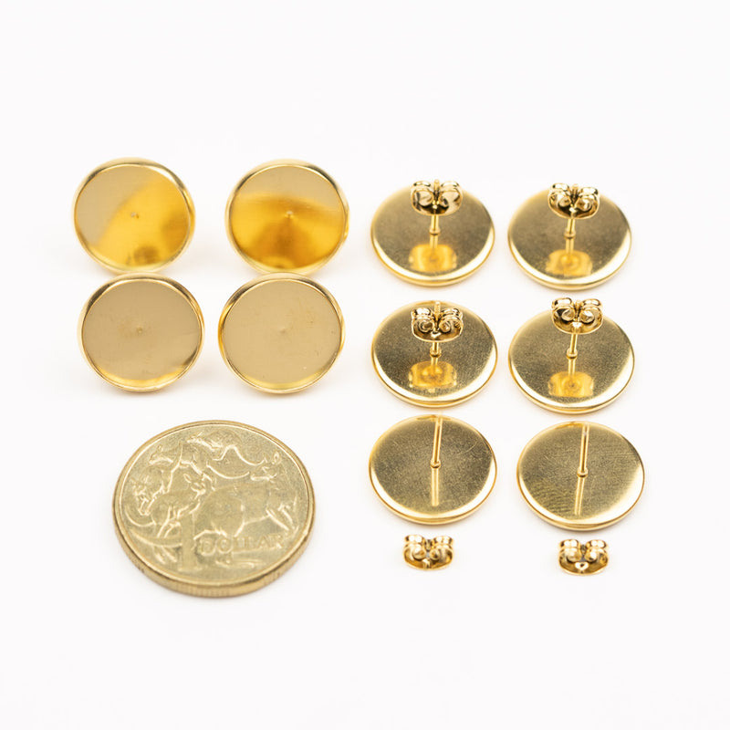 Bezel Resin Jewellery Gold Studs