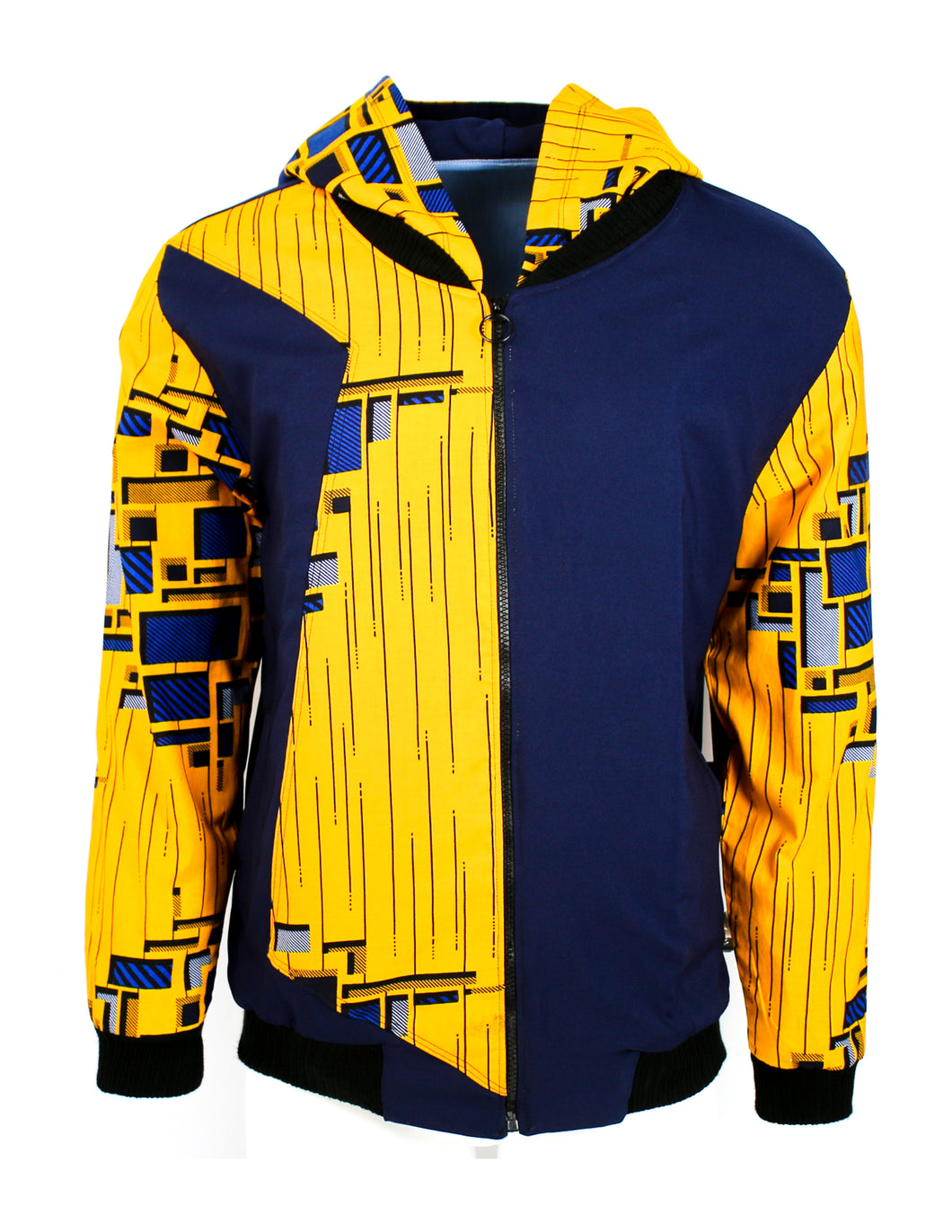 Golden Yellow on Navy Blue with Blue and Grey Rectangles