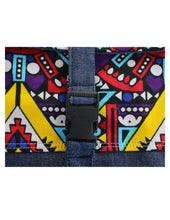 Load image into Gallery viewer, Vibrantly Colored Kitenge Patterned Top with Denim Base