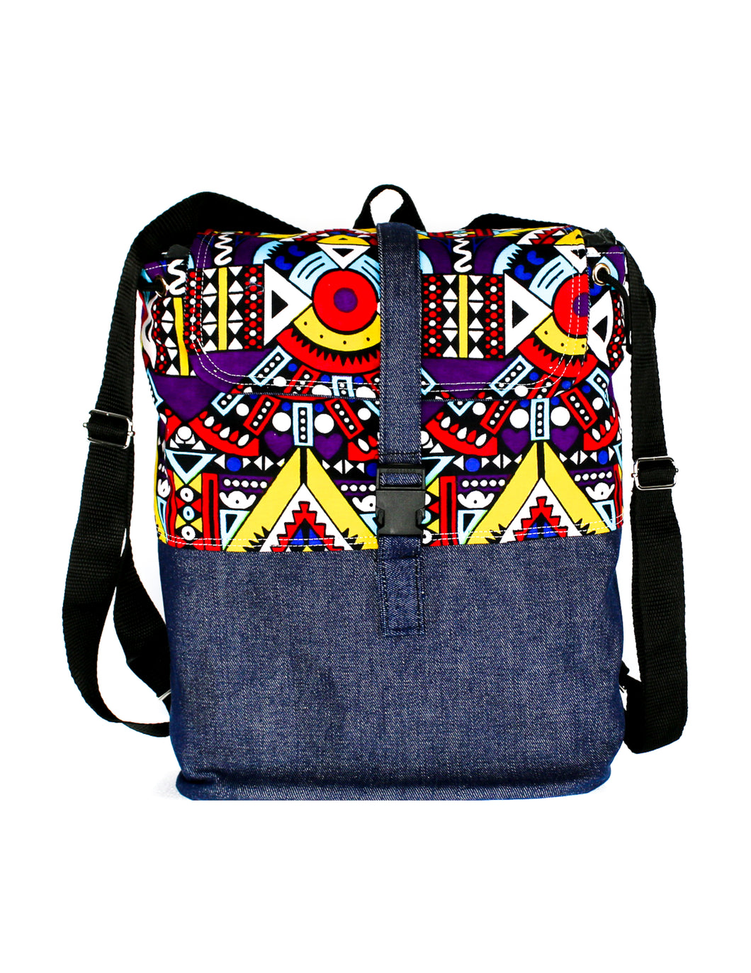 Vibrantly Colored Kitenge Patterned Top with Denim Base