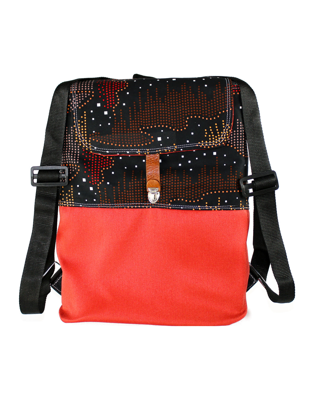 Multi-colored dots on Black with Orange Red Base