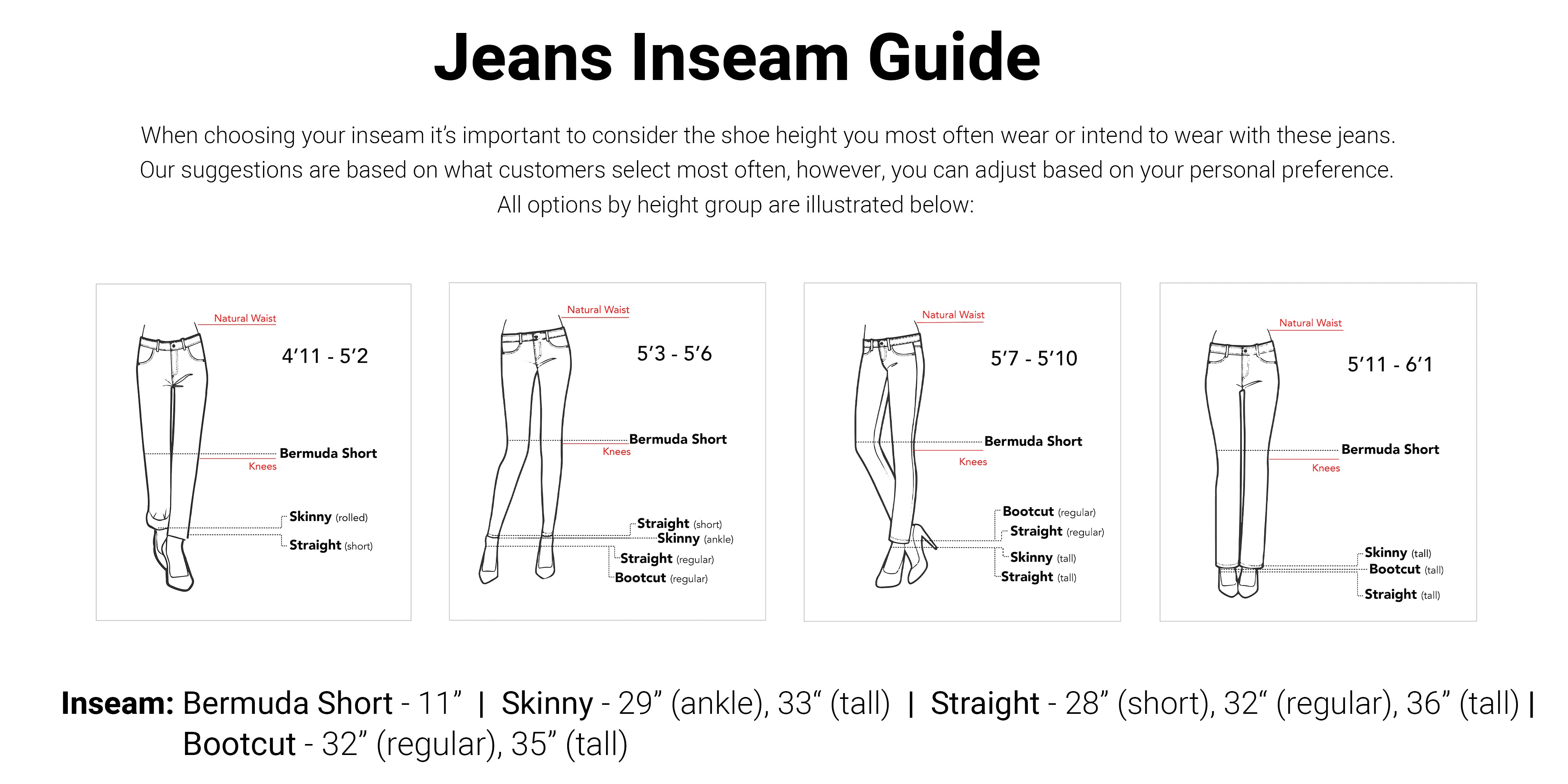 Measure and Made Jeans Size Guide