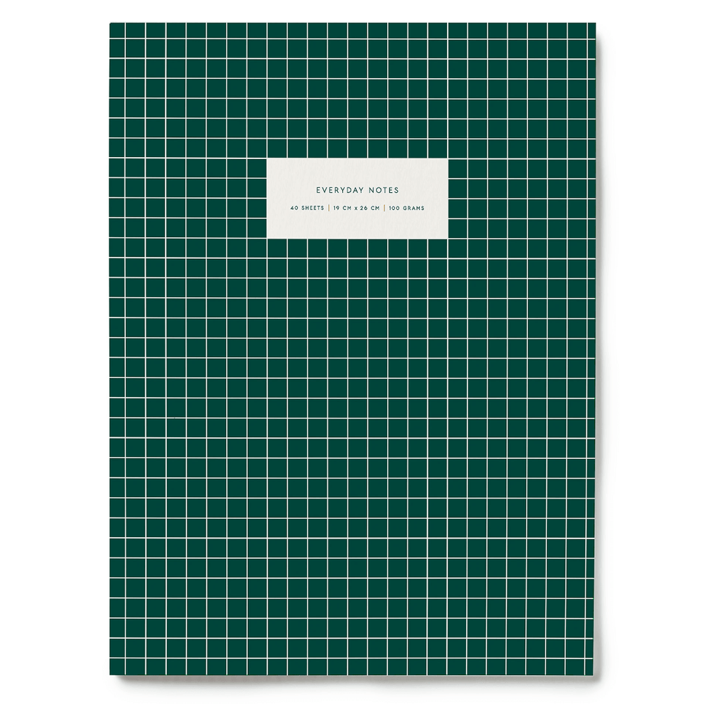 Kartotek Copenhagen Check Notebook - Dark Green