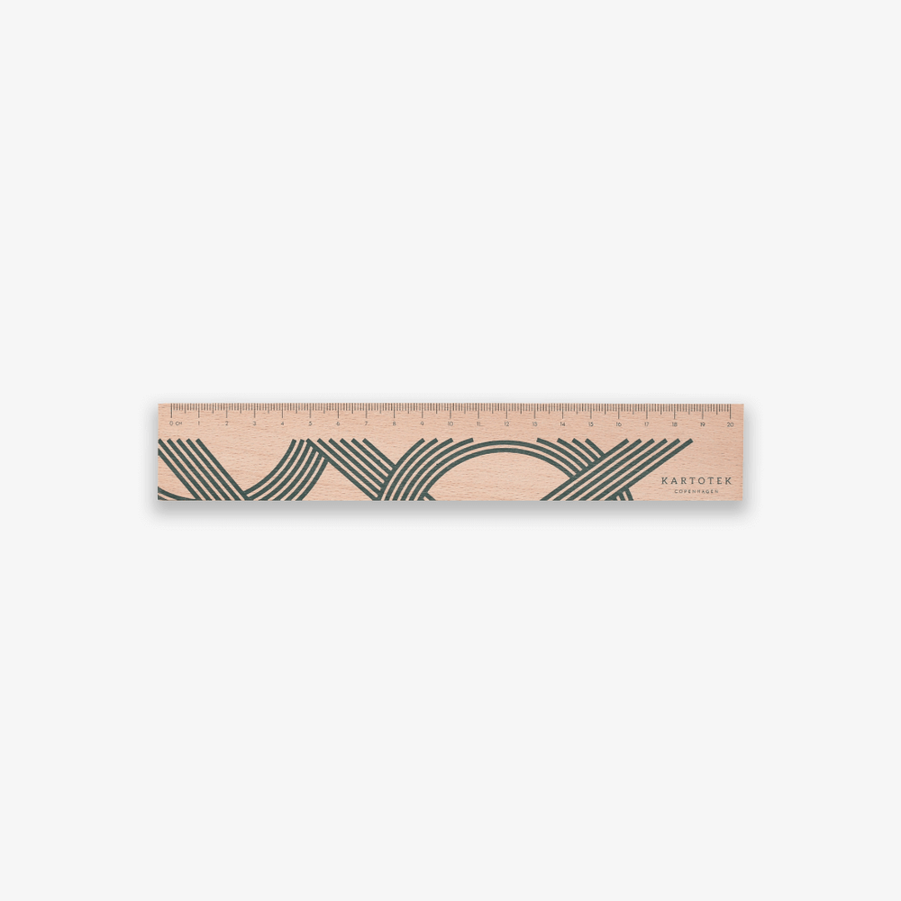 Kartotek Copenhagen Wooden Ruler 20cm - Dark Green