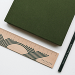 Kartotek Copenhagen Wooden Ruler 20cm - Dark Green - Leaves Stationery Store