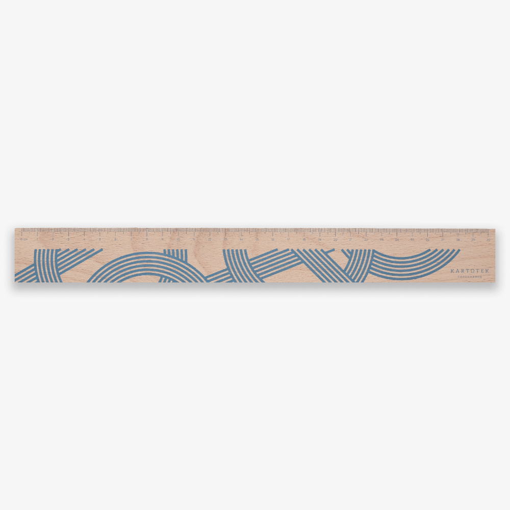 Kartotek Copenhagen Wooden Ruler 30cm - Light Blue