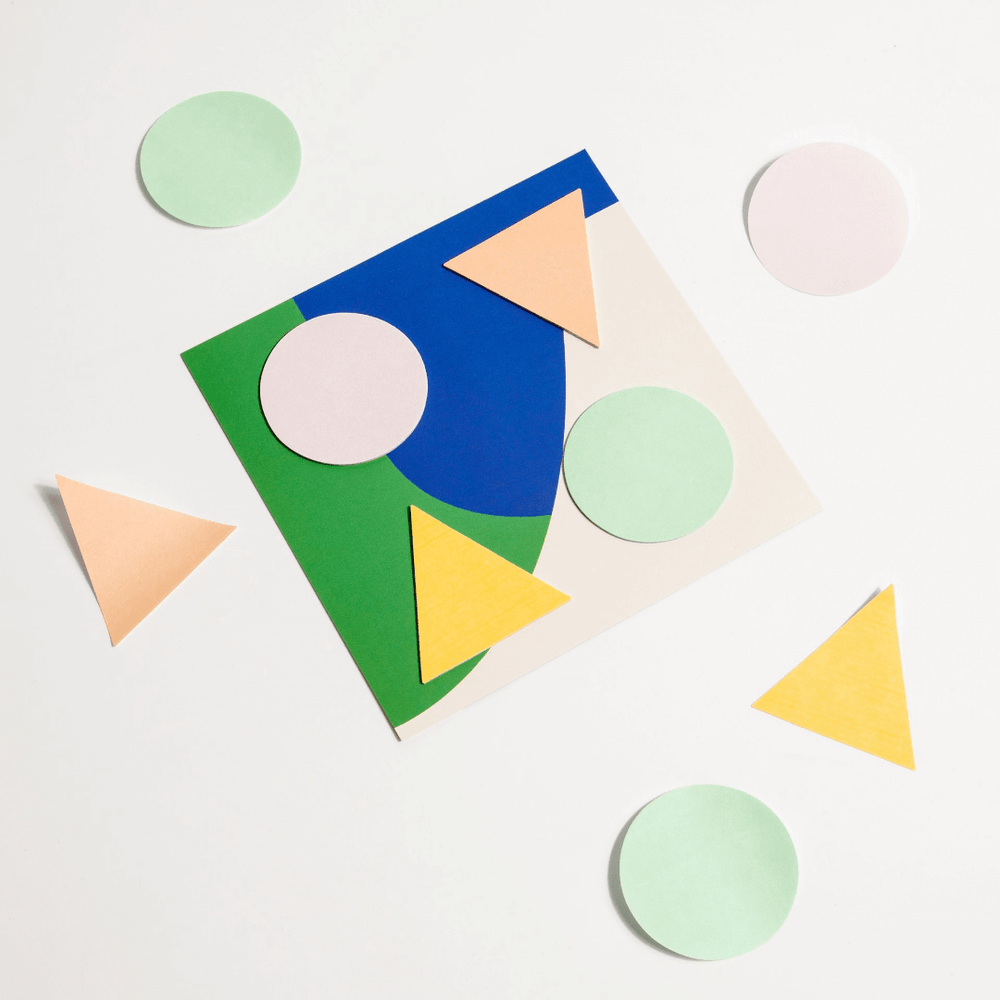 Poketo Geometric Sticky Notes - Cool Colours - Leaves Stationery Store