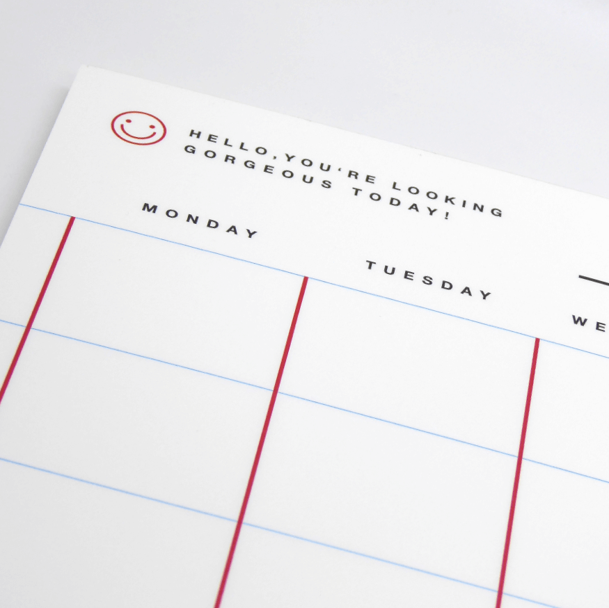 Red Fries Monthly Planner - White - Leaves Stationery Store