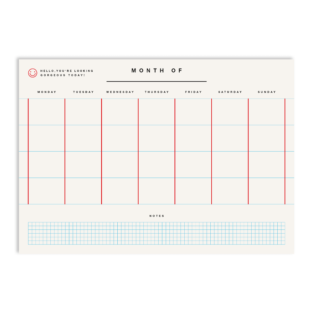 Red Fries Monthly Planner - White