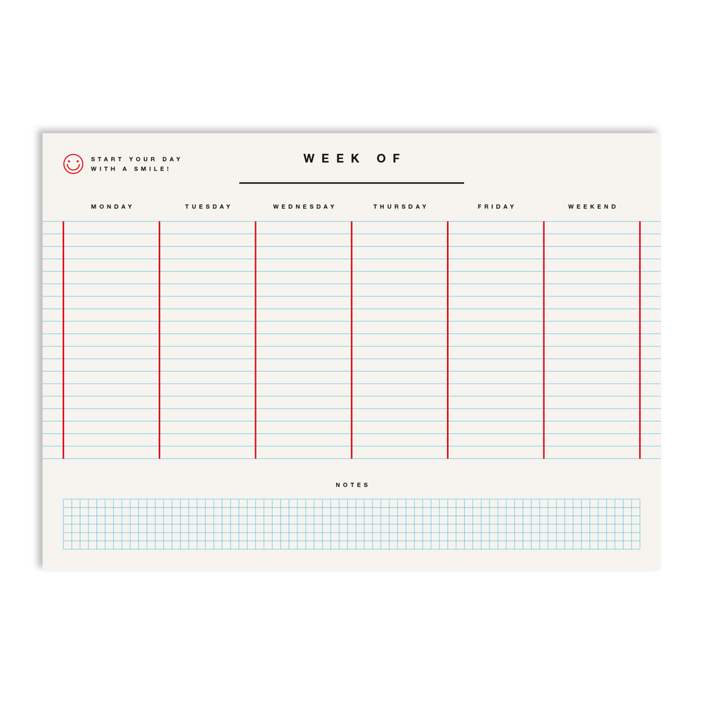 Red Fries Weekly Planner - White