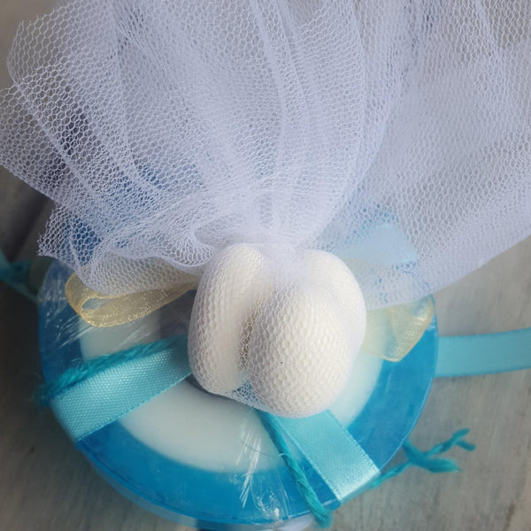 Santorini mati soap with blue cross, mati and beads