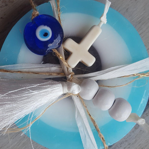 Mykonos baby bue mati soap with cross and mati and tassel with a touch of black