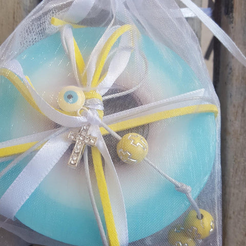 Mykonos baby bue mati soap with cross and mati with a touch of yellow