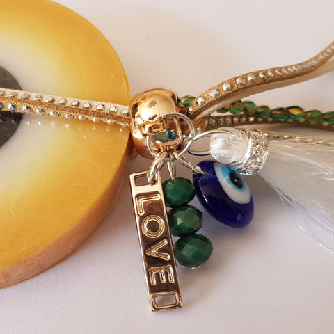 Paros Gold mati soap with green and gold charms