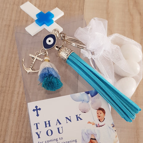 Blue keyring with cross and tassel