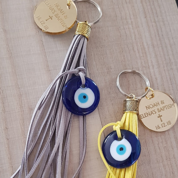 Yellow and grey mati keyrings