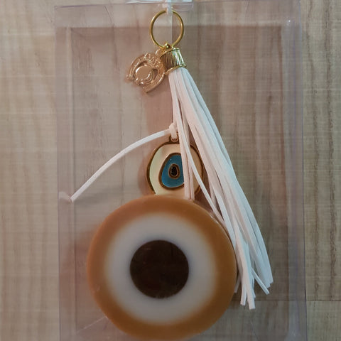 Gold mati soap and white keyring set