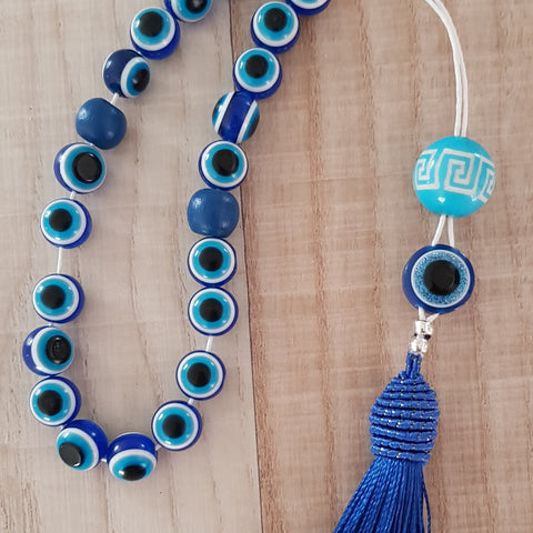 Blue evil eye stone komboloi with tassel