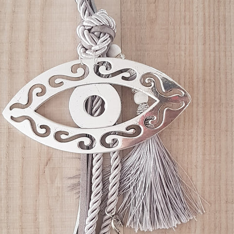 Silver gouri with silver mati, tassel and hamsa hand