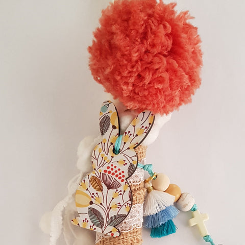 Brown and white lambada with pompom and bunny  - Easter collection