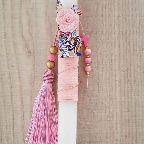 Pink lambada with coloured easter bunny and pink tassel - Easter collection