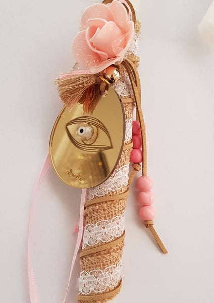 Gold kali Anastasi lambada with pink rose and beads - Easter collection