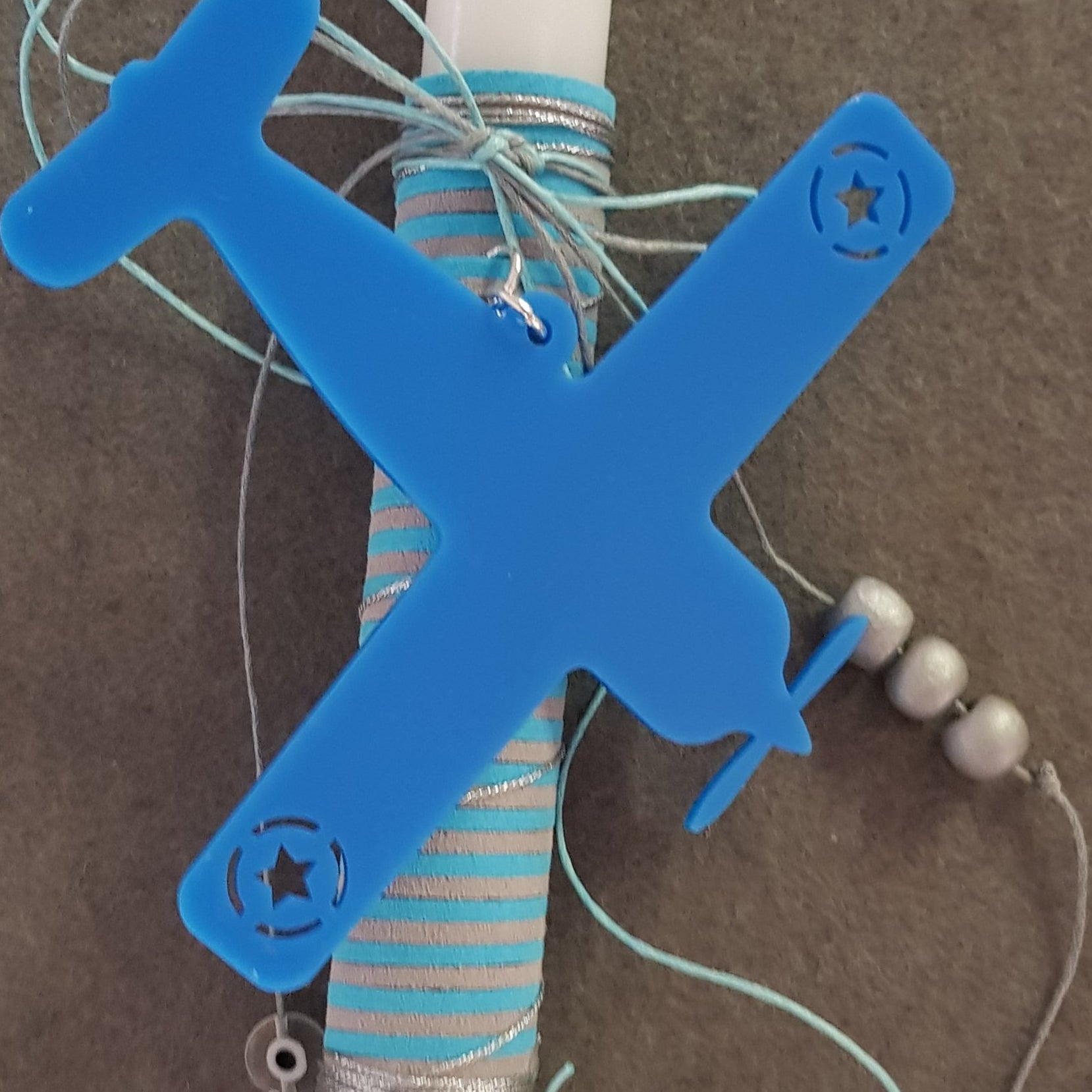 Blue aeroplane lambada with mati and beads - Easter collection