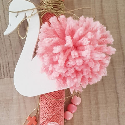 White swan lambada with pompom, roses, cross and beads - Easter collection