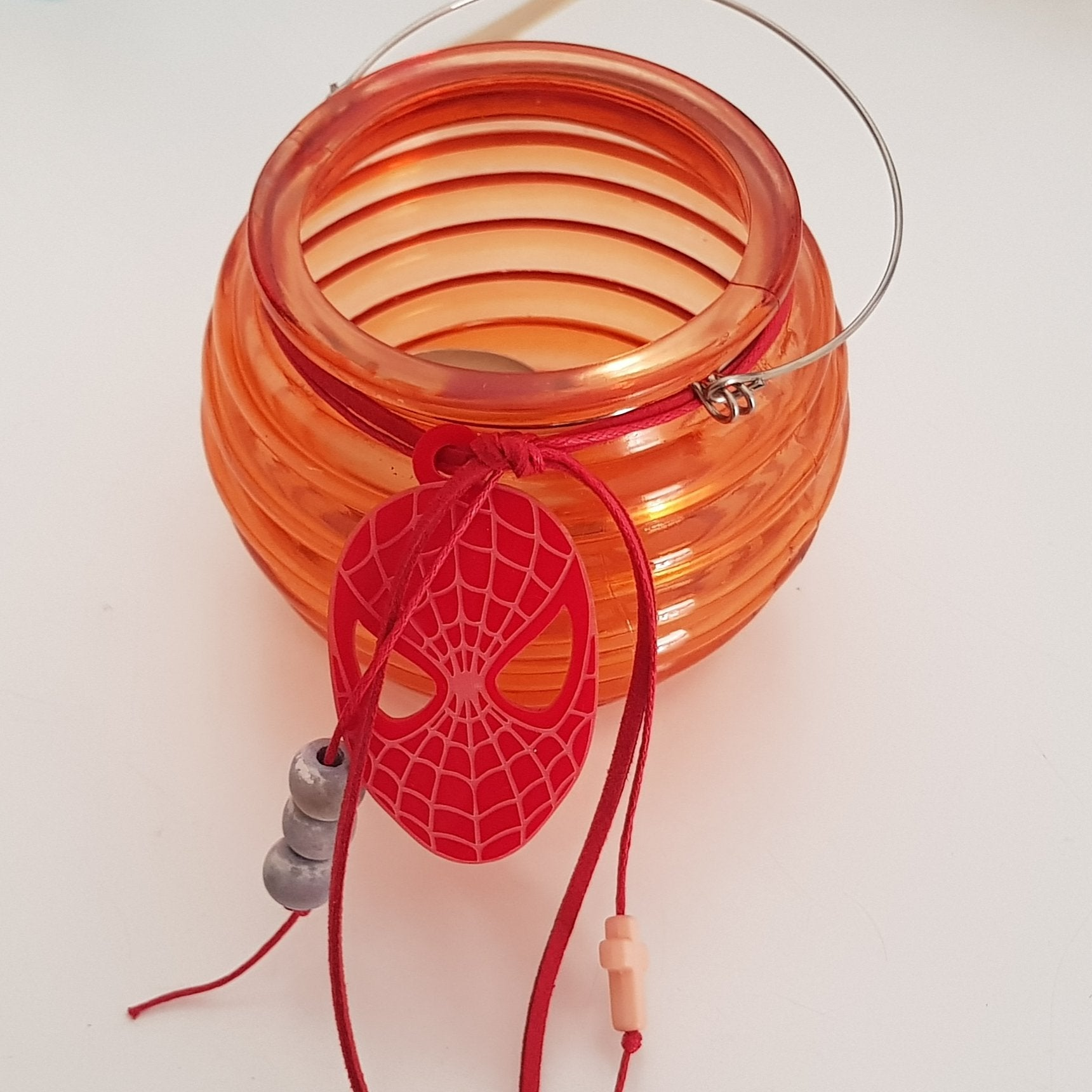 Orange bee hive lantern with Spiderman  - Easter collection