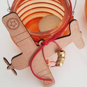 Orange bee hive lantern with wooden aeroplane  - Easter collection