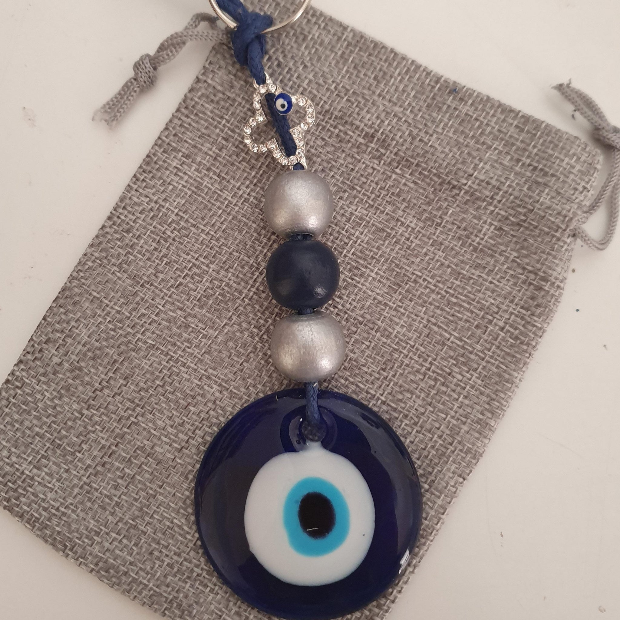 Blue and silver mati keyring