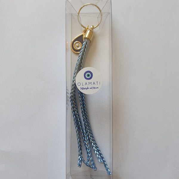 Ombre blue bag keyring with teardrop mati