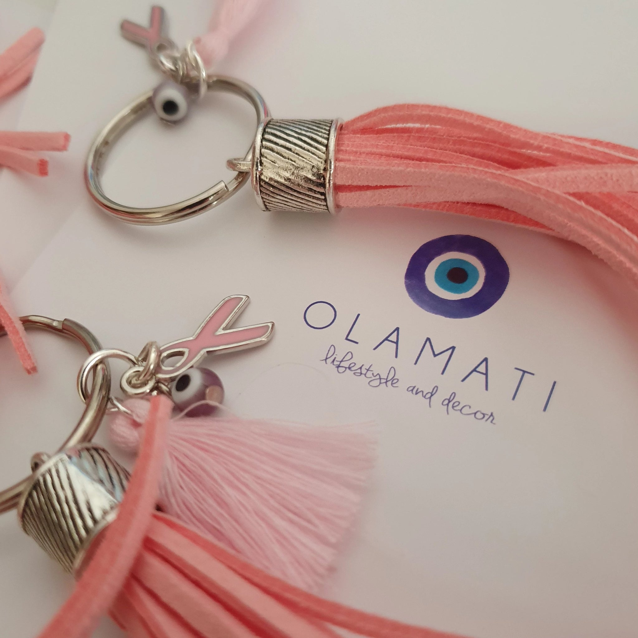 Pink Fillotimo keyring with evil eye and pink cancer ribbon