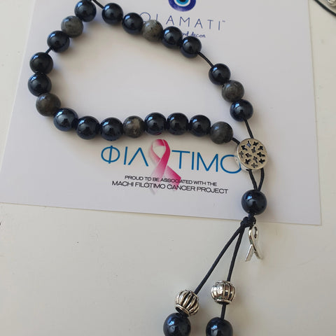 FIlotimo mens black stone komboloi with Cancer ribbon