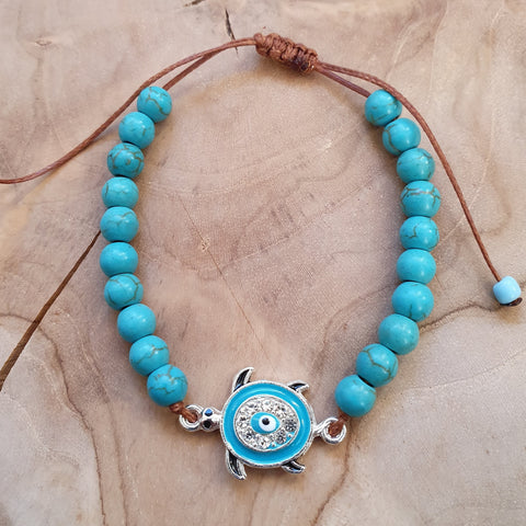 Turquise blue creamic beads with turtle