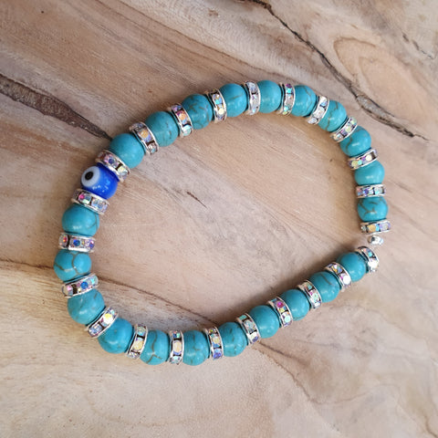 Ladies Mediterranean blue and silver bracelet