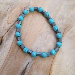 mens mediterranean blue and grey bracelet