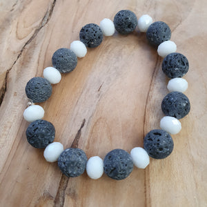 ladies grey lava beads with white glass beads